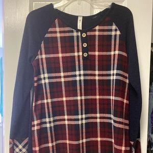 Navy & plaid sweater